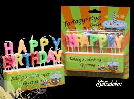 Gyertya - Happy Birthday feliratos