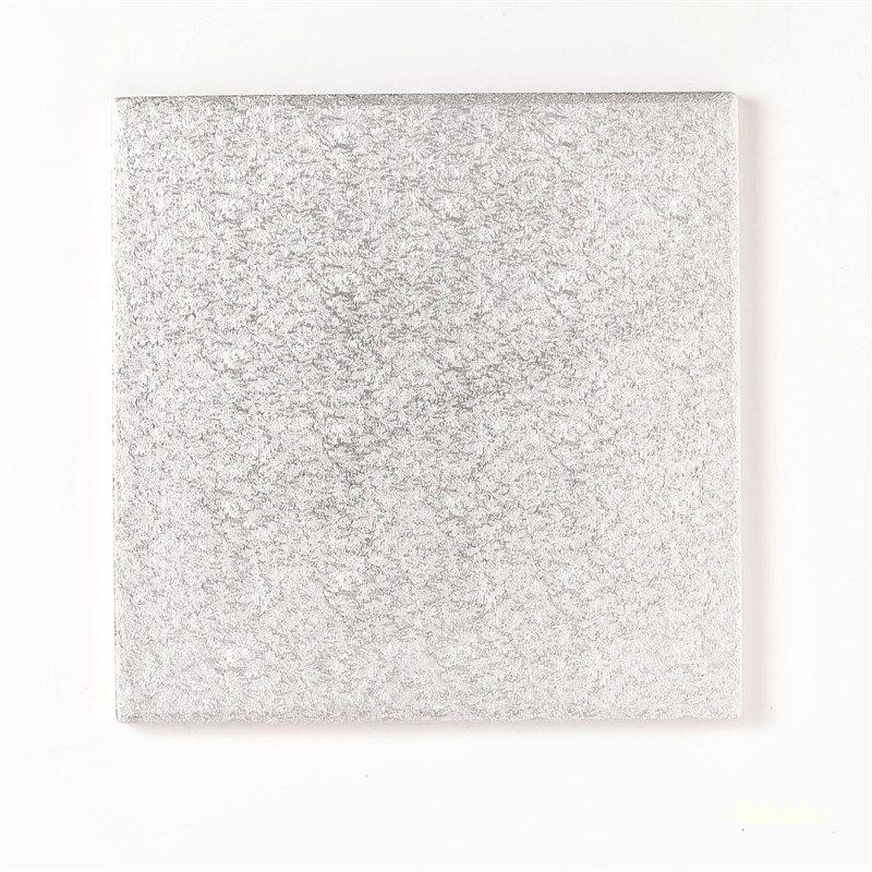 Ezüst szögletes tortadob/alátét 1cm vastag - 20cm