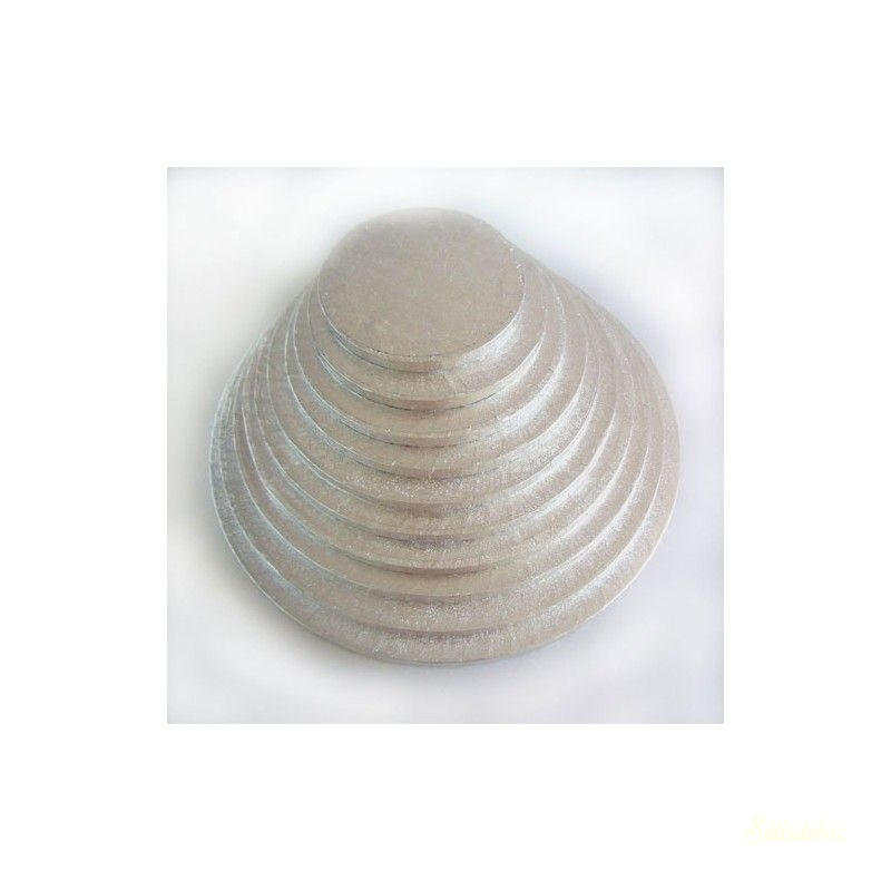 Ezüst kerek tortadob/alátét 1cm vastag - 10cm