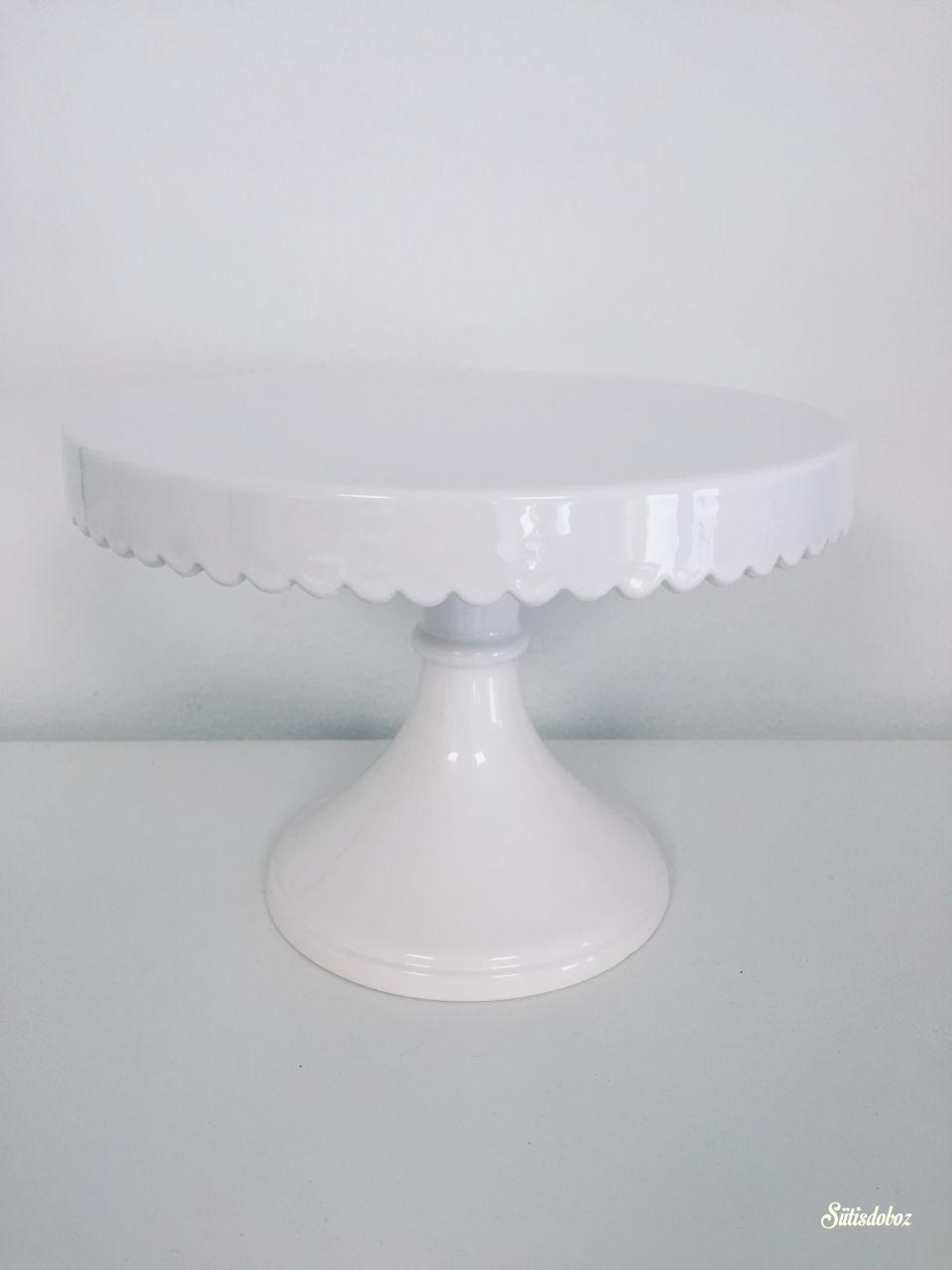 Kerámia tortatál - Fehér csipkés 21cm