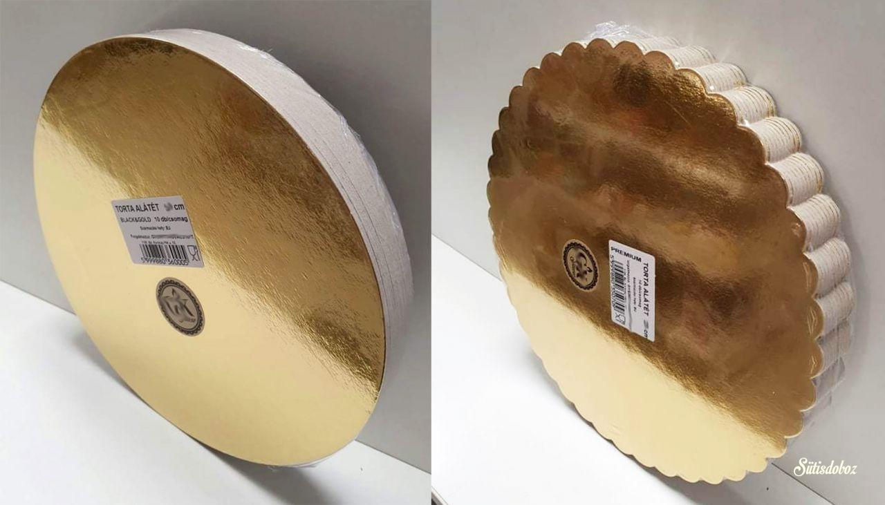 Tortakarton csomag 26cm - Arany/fekete vagy hullámos