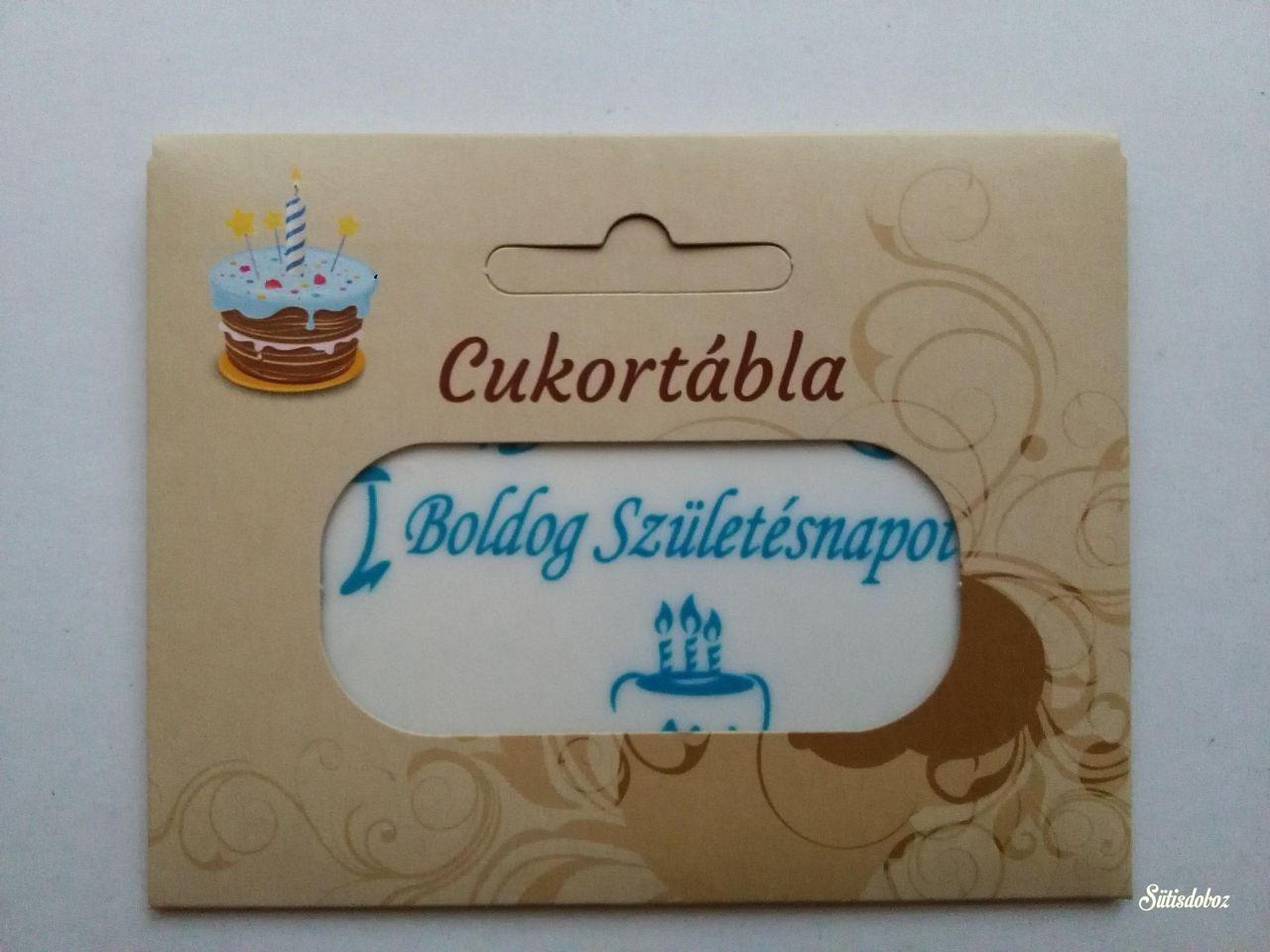 Csomagolt cukortábla - Boldog Születésnapot! (kék)