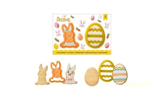 Decora húsvéti kiszúró 2db - Nyuszi és tojás