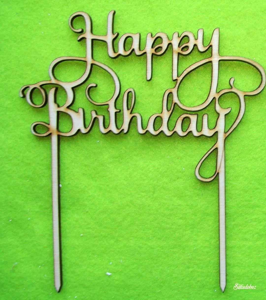 Fa torta beszúró - Happy Birthday Natúr 14x18cm 1db