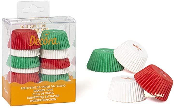 Decora mini muffin/bonbon forma 200db - Zöld-fehér-piros